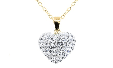 *Limited Time Only Price Reduction* Heart Pendant with Swarovski Elements Crystals in 14K Gold