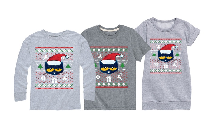 52d60596a17644 Kids' Pete The Cat Ugly Christmas Sweater Graphic Tees and Dresses ...