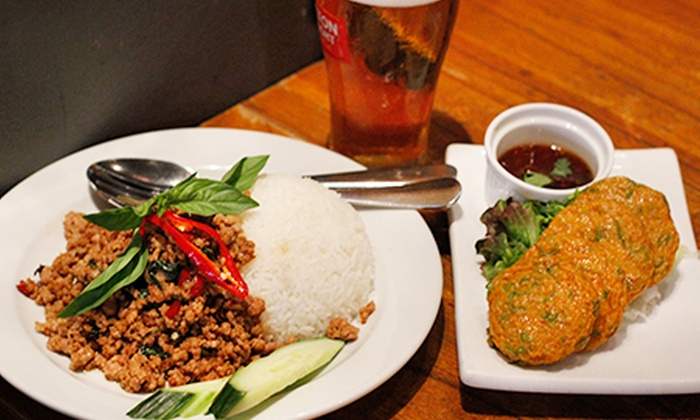Thanon Khaosan - Pitt Street, CBD - Haymarket: Thai Lunch with Wine or Beer for One ($9), Two ($18) or Four People ($36) at Thanon Khaosan, CBD (Up to $120 Value)