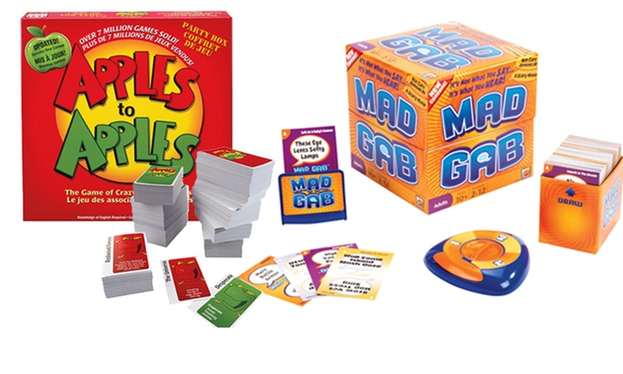 Apples to Apples or Mad Gab Card Games: Apples to Apples Party Box or Mad Gab Card Games. Free Returns.