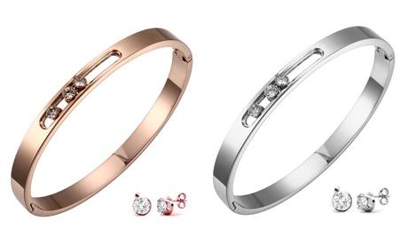 Conjunto de pulsera y pendientes con cristales de Swarovski®