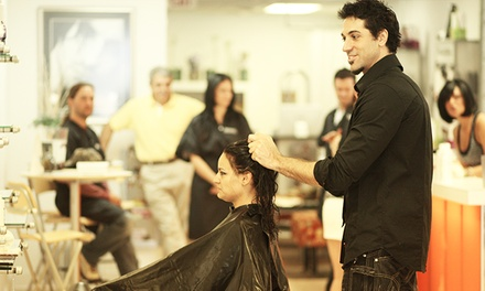 Haircut with All over Color or Partial Highlights Service, or Two Haircuts at Sergio's Style (Up to 58% Off)