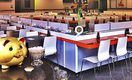 Sushi and Drinks at Ahi Revolving Sushi (Up to 53% Off). Three Options Available.