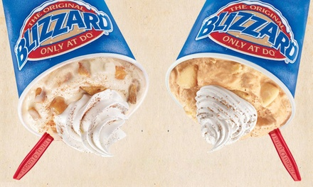Five Single-Flavor Medium Blizzards or Food, Drinks, and Ice Cream at Dairy Queen (Up to 47% Off)