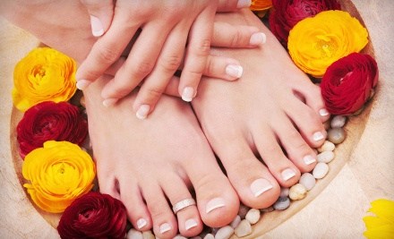 Spa Mani-Pedis or Acrylic Nails at Nails by Angela Davis at Emerge Beauty (Up to 62% Off). Three Options Available.