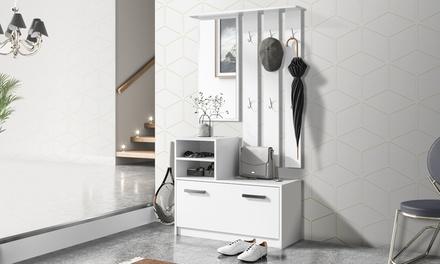 Set di mobili da ingresso composto da specchio scarpiera for Mobili online a poco prezzo