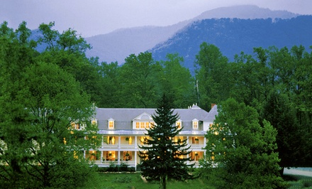 groupon daily deal - 2-, 3-, 4-Night Stay for Two at Balsam Mountain Inn in the Great Smoky Mountains, NC. Combine Up to Eight Nights.