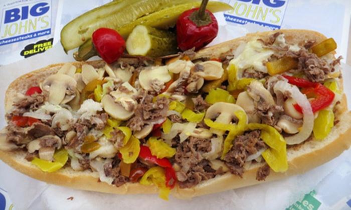 Big John's Cheesesteaks & More - Multiple Locations: Cheesesteaks, Pizza, Hoagies, and More at Big John's Cheesesteaks & More (Up to 55% Off). Three Options Available.