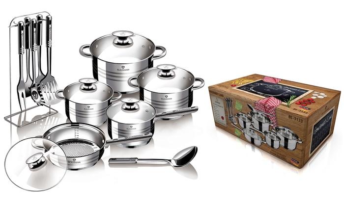 Batterie de cuisine blaumann 17pcs groupon - Batterie de cuisine en acier inoxydable ...