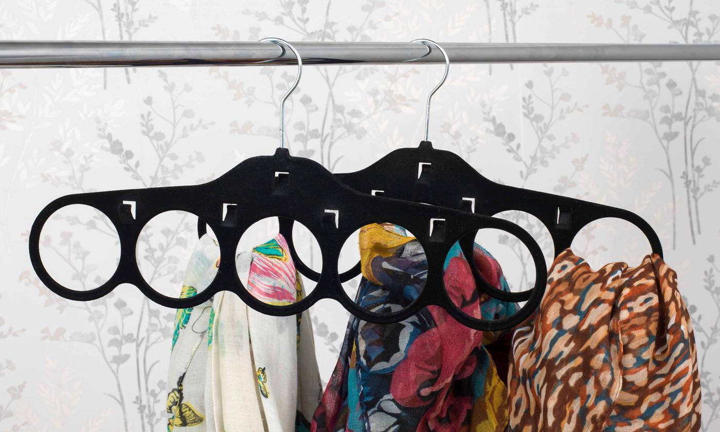 Four, Six or Eight Beldray Velvet Scarf Hangers