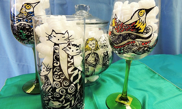 Brighton Beads & More - Brighton: $27 for a BYOB Wineglass- or Vase-Painting Class at Brighton Beads & More ($45 Value)