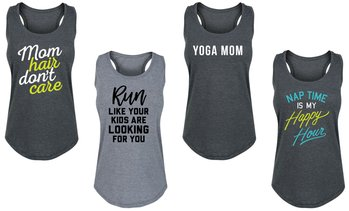 Instant Message Fitness Tanks for Mom. Plus Sizes Available.