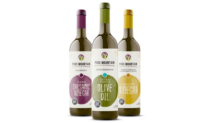 Pure Mountain Olive Oil - Multiple Locations: Gourmet Olive Oils and Balsamic Vinegars at Pure Mountain Olive Oil (Up to 40% Off). Two Options Available.