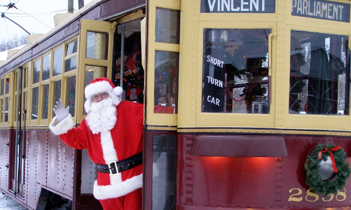 The Shore Line Trolley Museum - East Shore: Holiday Trolley Ride with Santa for Two or Four at The Shore Line Trolley Museum (Up to 50% Off)