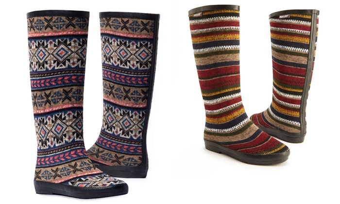 Muk Luks Aubrie Patterned Rain Boots Groupon Fascinating Patterned Rain Boots