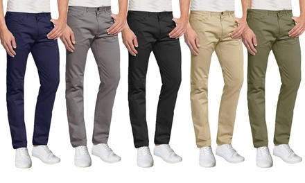 Galaxy By Harvic Men's 5-Pocket Ultra-Stretch Skinny-Fit Chino Pants