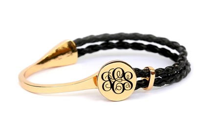 Personalized Braided Bracelet with Engraved Initial or Monogram from MonogramHub (Up to 77% Off)