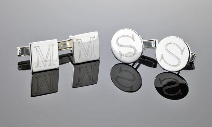 Custom-Engraved Cufflinks: $24.99 for Custom Silver-Plated Engraved Cufflinks ($79.99 List Price). Two Options Available. Free Shipping.