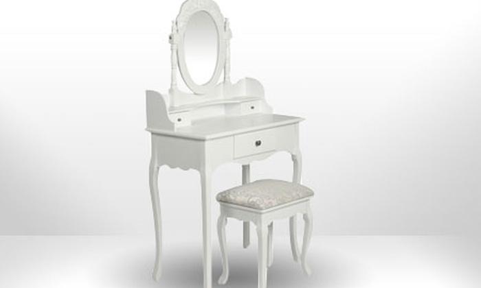 coiffeuse blanche style baroque en bois avec si ge et miroir inclus groupon shopping. Black Bedroom Furniture Sets. Home Design Ideas