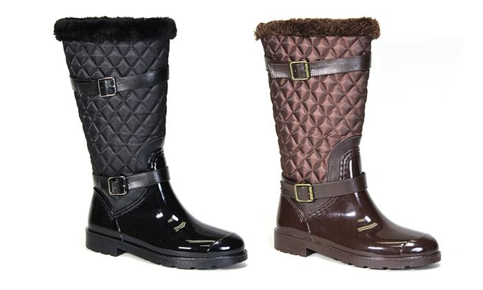 Bamboo Women's Fur-Lined Quilted Rain Boots
