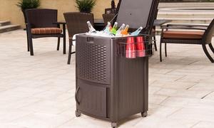 Suncast 77 Quart Wicker Cooler and Cabinet