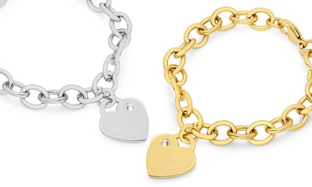 Heart Charm Bracelets Made with Swarovski Elements