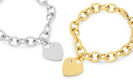 Heart Charm Bracelets Made with Swarovski Elements