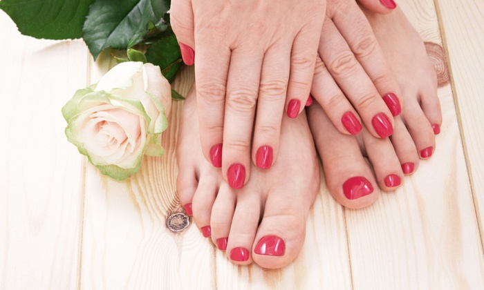 Mei Salon - Rutherford: Regular Manicure and Mint Pedicure or Gel Manicure and Regular Pedicure at Mei Salon (52% Off)