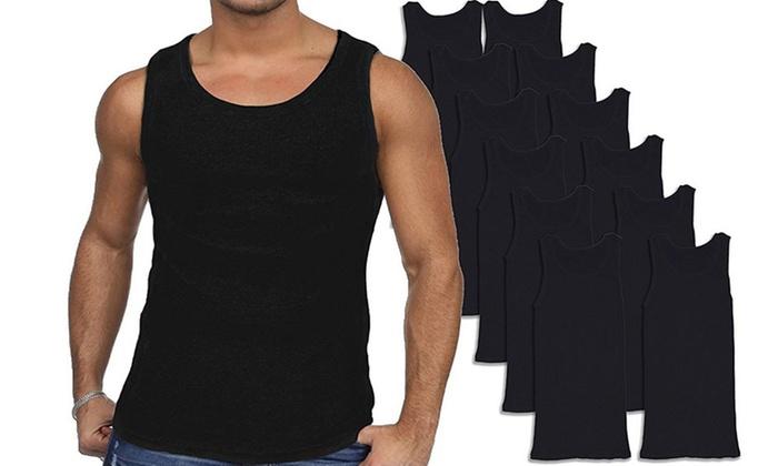 a1e89d70c4d8d Men s Combed Cotton Black Tank Tops (12-Pack)