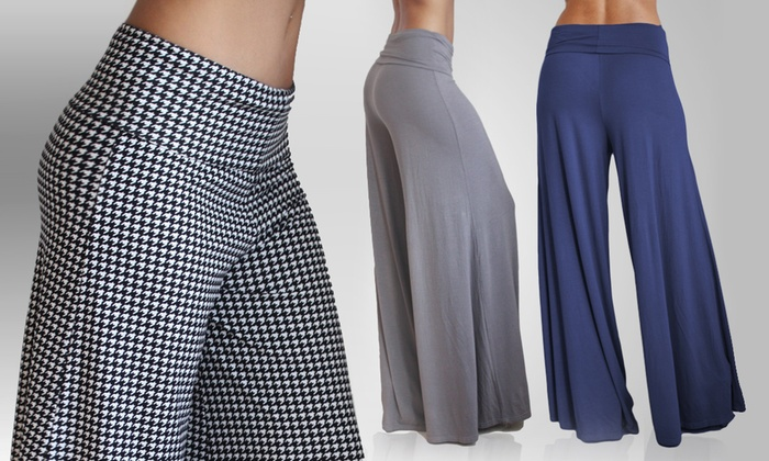 OhConcept Soft & Comfy Everyday Pallazo Pants: OhConcept Soft & Comfy Everyday Pallazo Pants in Grey, Blue, or Houndstooth. Free Returns.