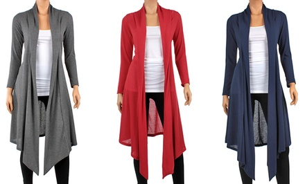 Women's Knee-Length Hacci Cardigan