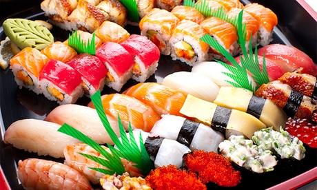 Bandeja con 40 u 80 piezas de sushi con entrante, postre y bebida desde 24 € en Príncipe de Vergara