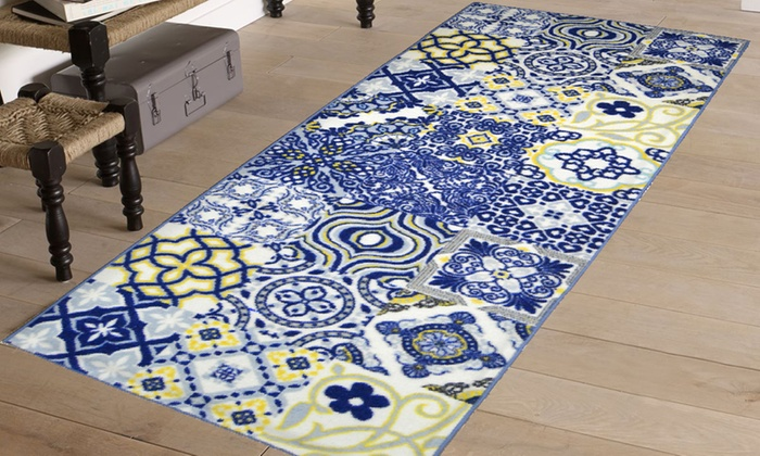 Printed rugs groupon for Liaison carrelage parquet