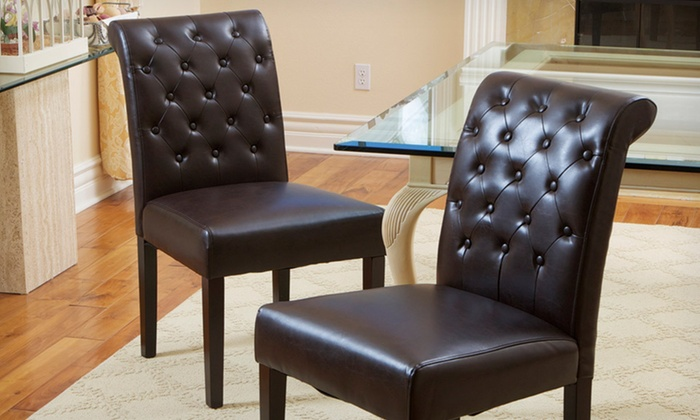 Two Elliston Tufted Faux-Leather Dining Chairs: $148.99 for Two Elliston Brown Tufted Faux-Leather Dining Chairs ($299.99 List Price). Free Shipping and Free Returns.