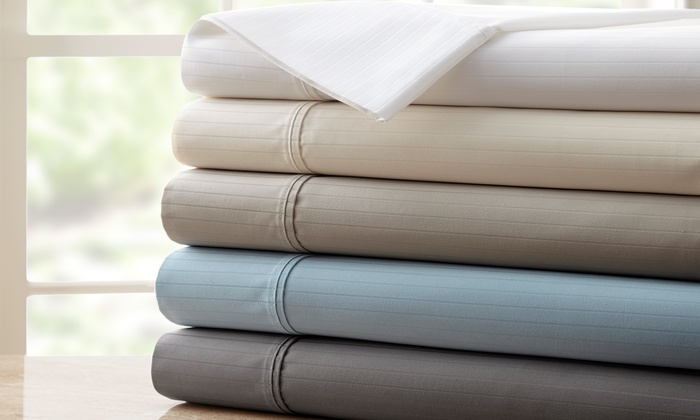 1,200 Thread Count Egyptian Cotton Dobby Stripe Sheet Set ...