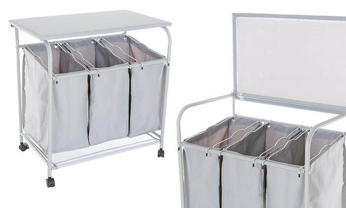 rolling laundry sorter with ironing station groupon. Black Bedroom Furniture Sets. Home Design Ideas