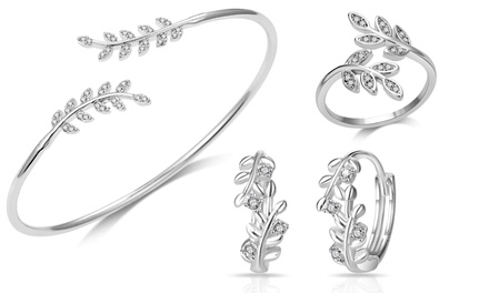 Philip Jones Signature Leaf Hoop Earrings, Ring, Bangle or Sets with Crystals from Swarovski