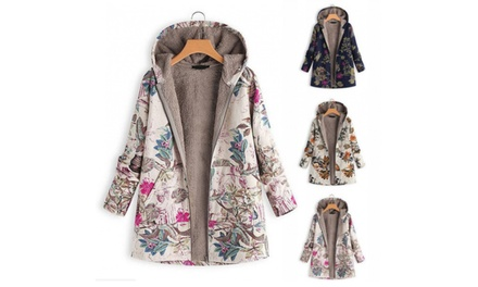 Women's Floral Print Hooded Coat: One $29.95 or Two $49.95