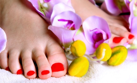 Gel Polish and Pedicure with Mineral Tangerine Sea-Salt Exfoliation at Von's Nails (50% Off)