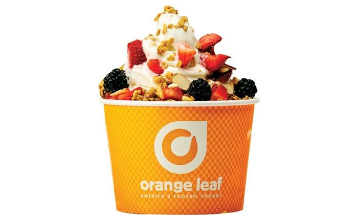 Orange Leaf Frozen Yogurt - Northwest Harris: One or Four Groupons, Each Good for $10 Worth of Frozen Yogurt at Orange Leaf (Up to 50% Off)