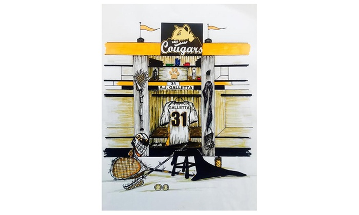 """Locker Room Art: 16""""x20"""" Personalized Drawing of One or Two Sports Jerseys in a Locker Room from Locker Room Art (Up to 44% Off)"""