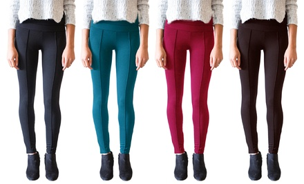 3-Pack of Fleece-Lined Pintuck Seam Women's Leggings