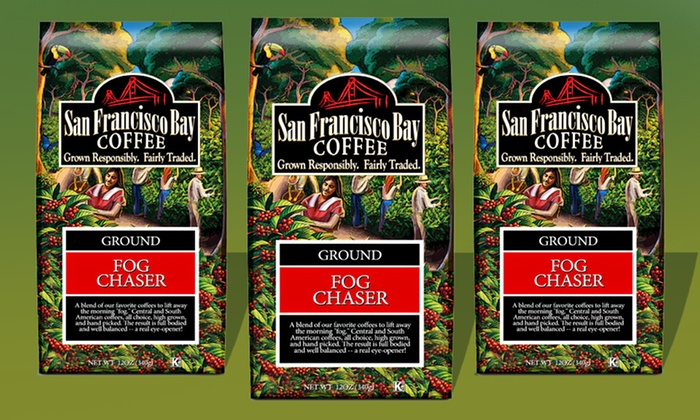 Fog Chaser Ground Coffee 3-Pack from San Francisco Bay Coffee : Three 12 Oz. Packages of Fog Chaser Ground Coffee from San Francisco Bay Coffee