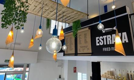 Menú para 2 o 4 personas con entrante, principal, postre y bebida desde 16,99 € en Estraza Fried Fish