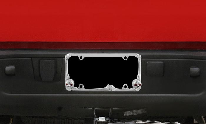 light up skull license plate frame