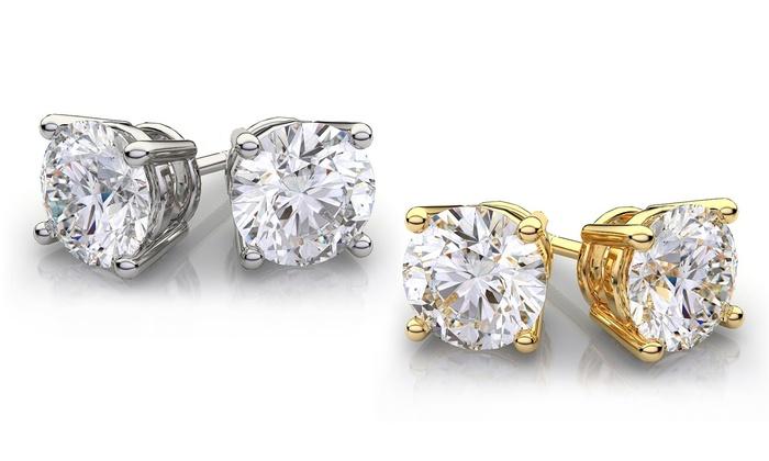 14k Solid Gold And Genuine White Topaz Gemstone Stud Earrings