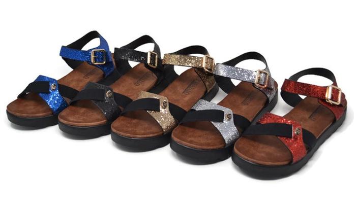 Mata Women's Open-Toe Glitters Flatform Sandals