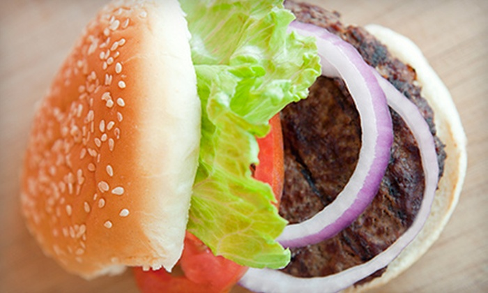 The Grill - Highwood: Beef Burger with Side and Soft Drink for Two or Four at The Grill (Up to 57% Off)