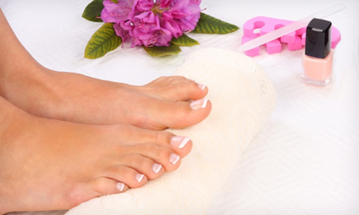 Bisou Nail Lounge - Rockridge: One or Three Wine-Therapy Pedicures with Glass of Wine at Bisou Nail Lounge (Up to 59% Off)