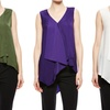 Sioni Sleeveless Drape-Front Layered Top